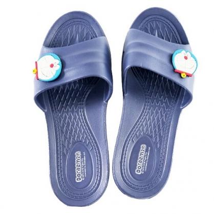 小禮堂 哆啦A夢 塑膠拖鞋 室內拖鞋 成人拖鞋 浴室拖鞋 極輕防滑 (深藍 大臉)