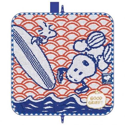 小禮堂 史努比 多功能毛巾布水壺袋 拉鍊筆袋 冰敷袋 (藍橘 豎耳)