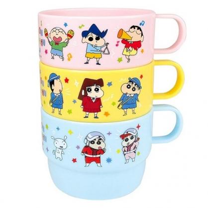 小禮堂 蠟筆小新 單耳塑膠杯 兒童水杯 漱口杯 230ml (3入 黃藍 星星)
