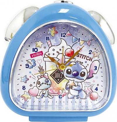 小禮堂 迪士尼 史迪奇 三角形鬧鐘 塑膠時鐘 桌鐘 (藍 飲料杯)