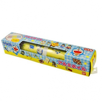 小禮堂 哆啦A夢 日製 盒裝印花鋁箔紙 錫箔紙 食物包裝紙 20cmx2m (藍黃 格紋)