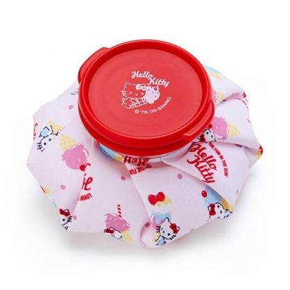 小禮堂 Hello Kitty 圓筒型尼龍冰敷袋 冰枕 退熱袋 (紅白 2020新生活)