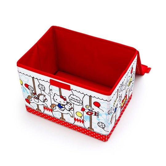 小禮堂 Hello Kitty 尼龍折疊掀蓋收納箱 玩具箱 小物收納箱 (紅白 木馬)
