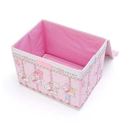 小禮堂 美樂蒂 尼龍折疊掀蓋收納箱 玩具箱 小物收納箱 (粉白 木馬)