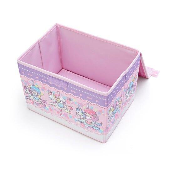 小禮堂 雙子星 尼龍折疊掀蓋收納箱 玩具箱 小物收納箱 (粉紫 木馬)
