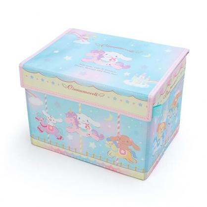 小禮堂 大耳狗 尼龍折疊掀蓋收納箱 玩具箱 小物收納箱 (綠黃 木馬)