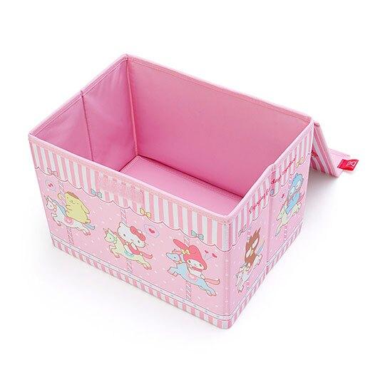 小禮堂 Sanrio大集合 尼龍折疊掀蓋收納箱 玩具箱 小物收納箱 (粉 木馬)
