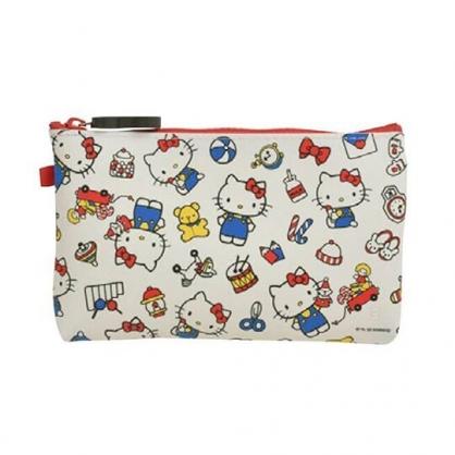 小禮堂 Hello Kitty 矽膠扁平拉鍊筆袋 矽膠化妝包 鉛筆盒 p+g design (白 滿版)