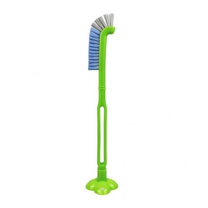 小禮堂 日製 長柄直立式排水口清潔刷 細縫刷 浴室清潔刷 (藍灰刷頭)