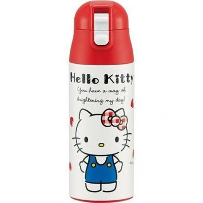 小禮堂 Hello Kitty 彈蓋保溫瓶 兒童水壺 隨身水壺 超輕量不鏽鋼 360ml  (紅白 愛心)