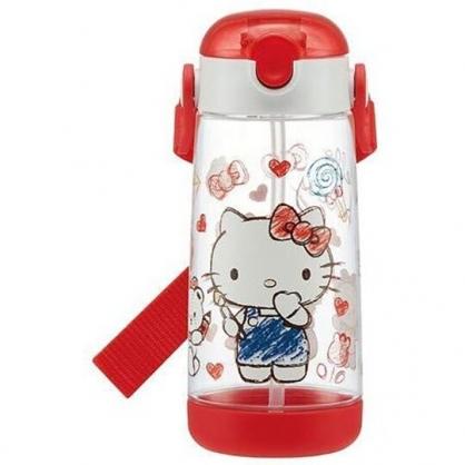 小禮堂 Hello Kitty 透明直飲式水壺附背帶 塑膠水瓶 兒童水壺 480ml (紅 塗鴉)