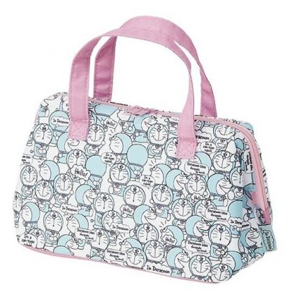 小禮堂 哆啦A夢 硬式支架尼龍保冷便當袋 餐袋 手提野餐袋 (藍粉 滿版)