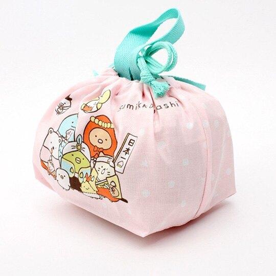 小禮堂 角落生物 日製 棉質束口便當袋 束口手提袋 小物收納袋 (粉綠 變裝)