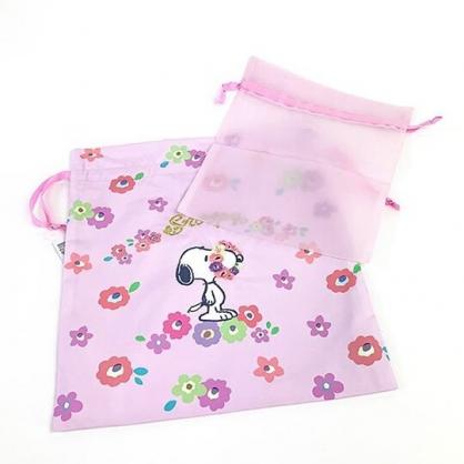 小禮堂 史努比 尼龍束口袋組 旅行收納袋 小物收納袋 鞋袋 (2入 粉 花朵)