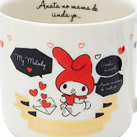 小禮堂 美樂蒂 日製 陶瓷馬克杯 咖啡杯 陶瓷杯 YAMAKA陶瓷 (紅白 對話框)