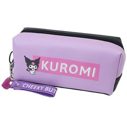 小禮堂 酷洛米 皮質拉鍊筆袋 鉛筆盒 鉛筆袋 (紫黑 LOGO)