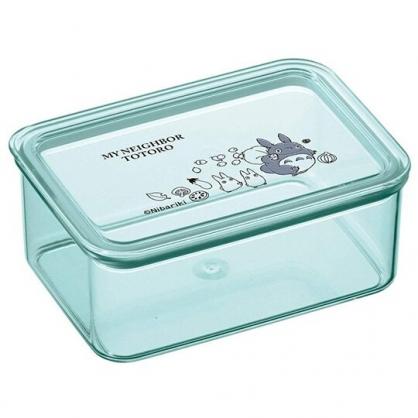 小禮堂 宮崎駿 龍貓 日製 方形塑膠保鮮盒 透明保鮮盒 微波便當盒 440ml (綠 包袱)