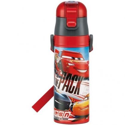 小禮堂 迪士尼 閃電麥坤 彈蓋保溫瓶附背帶 兒童水壺 隨身水壺 超輕量不鏽鋼 470ml  (紅 賽車)