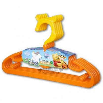 〔小禮堂〕小熊維尼 日製兒童造型三角衣架《5入.橘黃.耳朵》