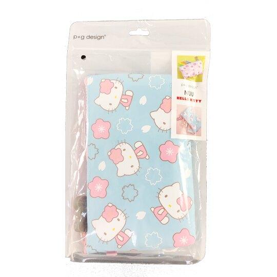 小禮堂 Hello Kitty 矽膠扁平拉鍊筆袋 矽膠化妝包 鉛筆盒 p+g design (粉藍 櫻花)