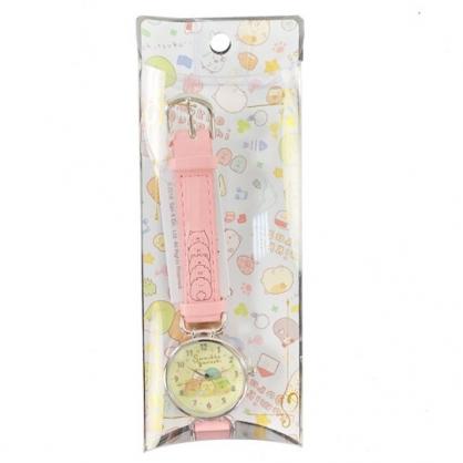 小禮堂 角落生物 皮革錶帶腕錶手錶 休閒手錶 淑女錶 (粉黃 花圈)