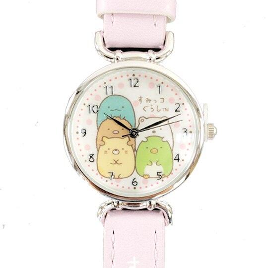小禮堂 角落生物 皮革錶帶腕錶手錶 休閒手錶 淑女錶 (紫白 抱頭)