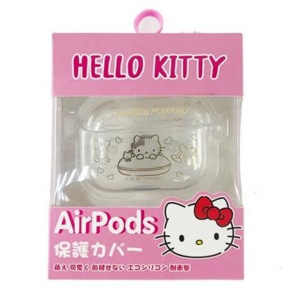 小禮堂 Hello Kitty Apple AirpodsPro 透明保護殼 藍牙耳機盒 耳機保護套 (金 抱枕)