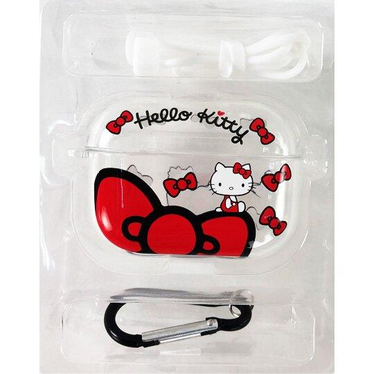 小禮堂 Hello Kitty Apple AirpodsPro 透明保護殼 藍牙耳機盒 耳機保護套 (紅 蝴蝶結)