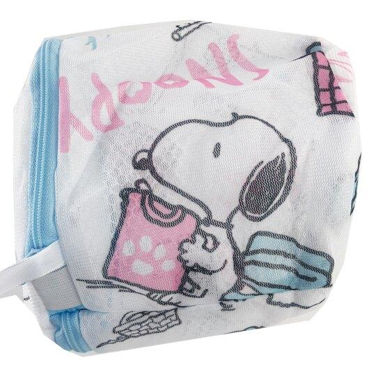 小禮堂 史努比 圓筒網狀洗衣袋 洗衣網袋 護洗袋 (粉藍 洗衣機)