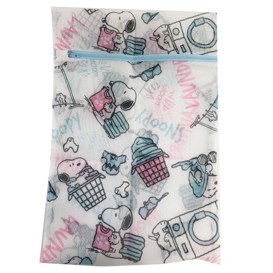 小禮堂 史努比 方型網狀洗衣袋 洗衣網袋 護洗袋 (粉藍 洗衣機)