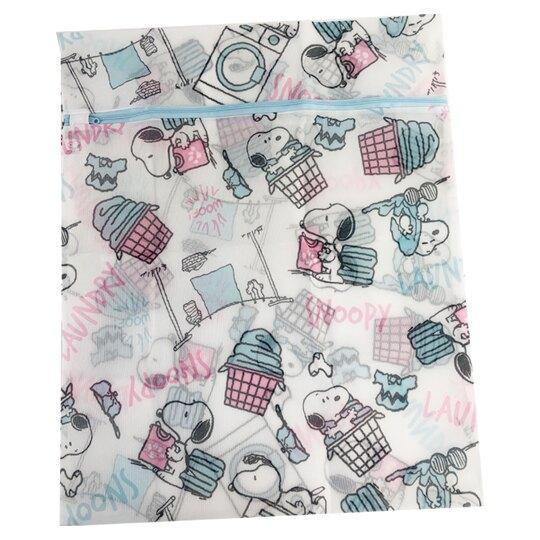 小禮堂 史努比 大方型網狀洗衣袋 洗衣網袋 護洗袋 (粉藍 洗衣機)