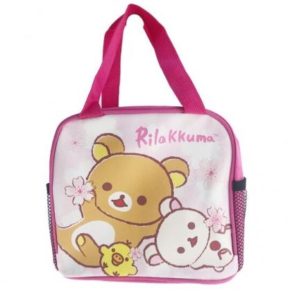 小禮堂 懶懶熊 方形皮質手提便當袋 餐袋 手提野餐袋 (粉 櫻花)