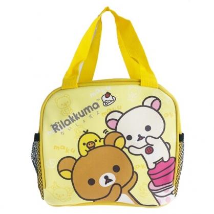 小禮堂 懶懶熊 方形皮質手提便當袋 餐袋 手提野餐袋 (黃 舉手)