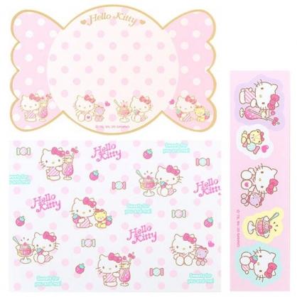 小禮堂 Hello Kitty 日製 迷你造型燙金卡片組 信紙信封 留言小卡 (粉白 糖果)