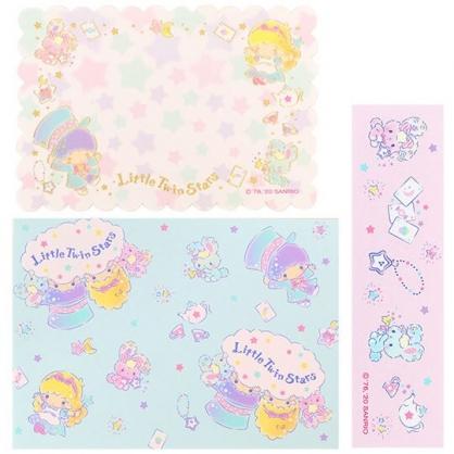 小禮堂 雙子星 日製 迷你造型燙金卡片組 信紙信封 留言小卡 (綠紫 愛麗絲)