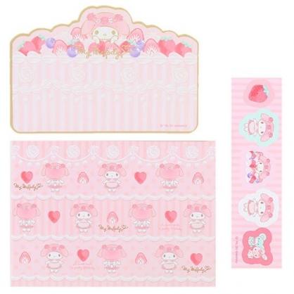 小禮堂 美樂蒂 日製 迷你造型燙金卡片組 信紙信封 留言小卡 (粉白 蛋糕)