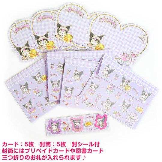 小禮堂 酷洛米 日製 迷你造型燙金卡片組 信紙信封 留言小卡 (紫 格紋)