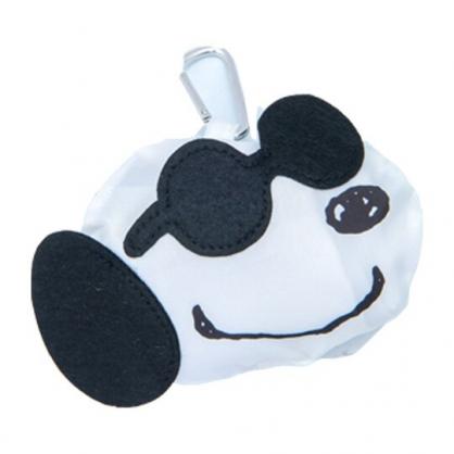 小禮堂 史努比 折疊尼龍環保購物袋 環保袋 側背袋 (黑白 墨鏡)