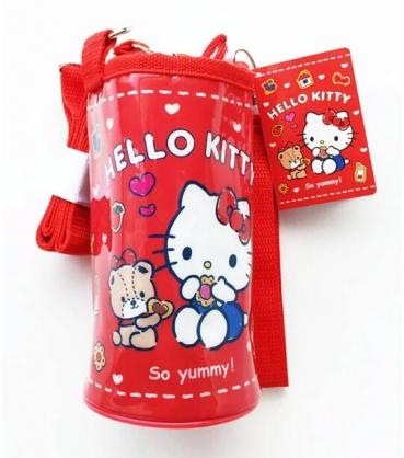 小禮堂 Hello Kitty 防水斜背束口保冷水壺袋 水壺背袋 水瓶袋 (紅 餅乾)