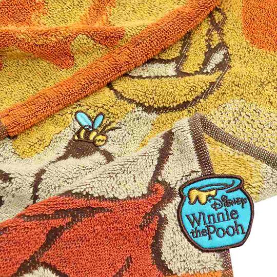 小禮堂 迪士尼 小熊維尼 純棉無捻紗短毛巾 純棉毛巾 方形毛巾 34x36cm (黃橘 抬頭)