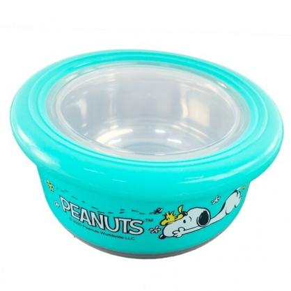 小禮堂 史努比 防滑不鏽鋼隔熱碗 保鮮碗 環保碗 420ml (綠 趴姿)