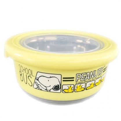 小禮堂 史努比 防滑不鏽鋼隔熱碗 保鮮碗 環保碗 420ml (黃 開車)