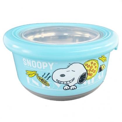 小禮堂 史努比 防滑不鏽鋼隔熱碗 保鮮碗 環保碗 720ml  (藍 比薩)