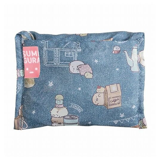 小禮堂 角落生物 折疊尼龍環保購物袋 環保袋 側背袋 (藍綠 食物滿版)