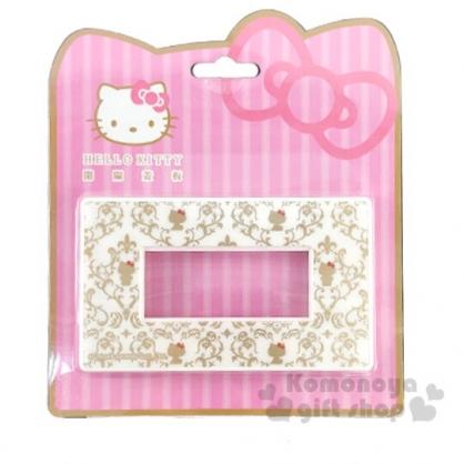 小禮堂 Hello Kitty 標準橫式三孔插座開關裝飾板《白.雕花》開關蓋板.電源蓋板