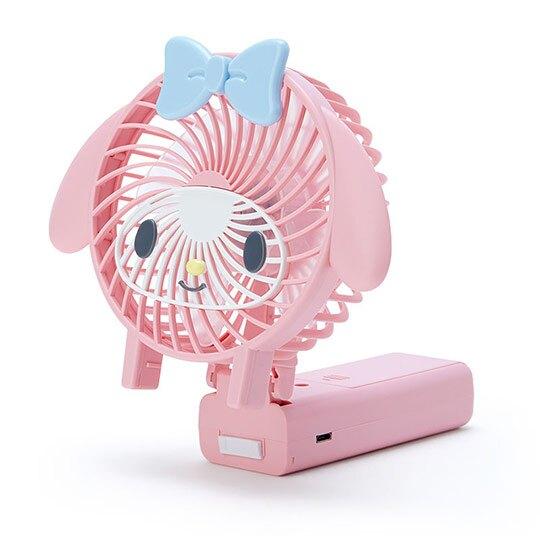 小禮堂 美樂蒂 手持電風扇 隨身風扇 USB電風扇 桌扇 (粉藍 大臉)