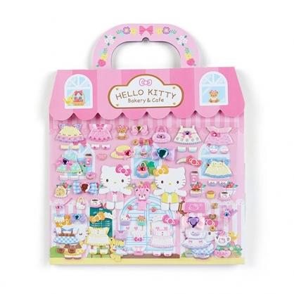 小禮堂 Hello Kitty 手提換裝貼紙組 貼紙娃娃 泡棉貼紙 貼紙收集冊 (粉黃 房屋)