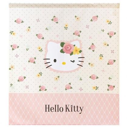 小禮堂 Hello Kitty 日製 棉麻短門簾 窗簾 遮光簾 85x90cm (粉黃 花朵)