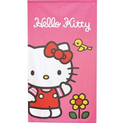 小禮堂 Hello Kitty 日製 棉麻長門簾 窗簾 遮光簾 85x150cm (粉 黃花)