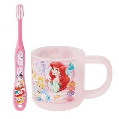 小禮堂 迪士尼 公主 兒童牙刷漱口杯組 旅行牙刷組 附牙刷蓋 3-5歲適用 (藍 大臉)